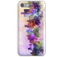 Detroit skyline in watercolor background iPhone Case/Skin