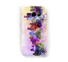 Detroit skyline in watercolor background Samsung Galaxy Case/Skin