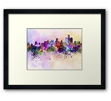 Detroit skyline in watercolor background Framed Print