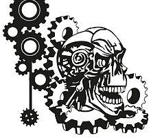 CyberPunk Skull by boardingtheark