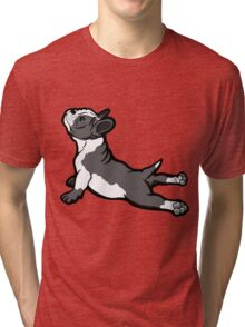 Boston Bull Terrier Puppy Black and White Tri-blend T-Shirt