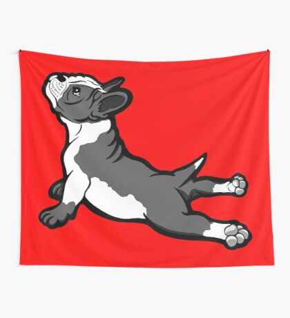 Boston Bull Terrier Puppy Black and White Wall Tapestry