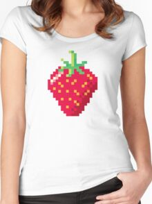 Pixel Strawberry Women's Fitted Scoop T-Shirt