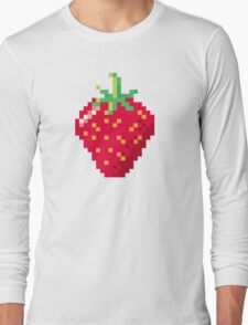 Pixel Strawberry Long Sleeve T-Shirt
