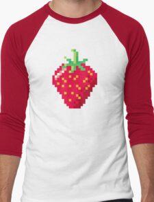 Pixel Strawberry Men's Baseball ¾ T-Shirt