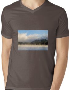 Boating at Trillium Lake one foggy morning Mens V-Neck T-Shirt