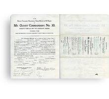 1913 Petition of Companion Wm. Eugene Briggs, Mt. Olivet Commandery No.30 Knights Templar Canvas Print