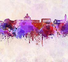 Helsinki skyline in watercolor background by paulrommer