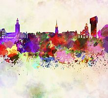 Stockholm skyline in watercolor background by paulrommer
