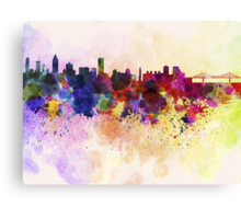 Montreal skyline in watercolor background Canvas Print