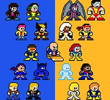 8-bit Blue and Gold X-Men by 8 Bit Hero