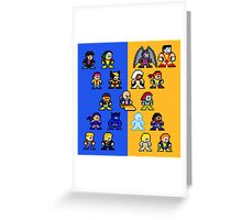 8-bit Blue and Gold X-Men Greeting Card