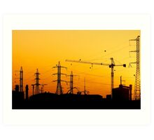 Construction crane and high power lines at sunset  Art Print