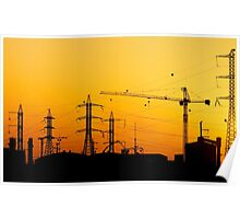 Construction crane and high power lines at sunset  Poster