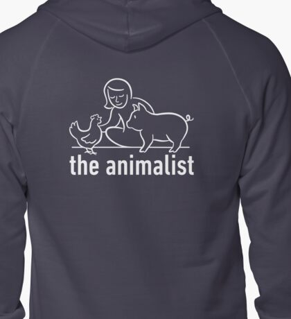 The Animalist - White on Back Zipped Hoodie