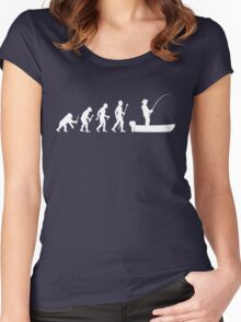 Funny Evolution Of Man and Boat Fishing Women's Fitted Scoop T-Shirt