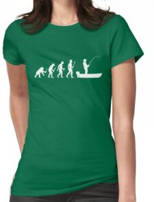 Funny Evolution Of Man and Boat Fishing Womens Fitted T-Shirt