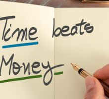 Handwritten text Time Beats Money Sticker