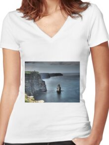 Cliffs of Moher Women's Fitted V-Neck T-Shirt