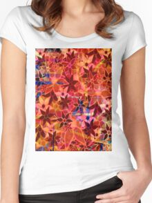 Abstract Art Retro Trendy Floral Pattern Women's Fitted Scoop T-Shirt