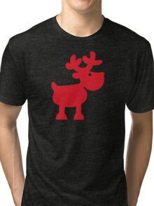 Cute Christmas Reindeer Tri-blend T-Shirt