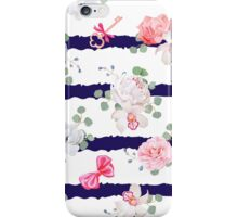 Striped navy seamless vector print with red satin bows and flowers. iPhone Case/Skin
