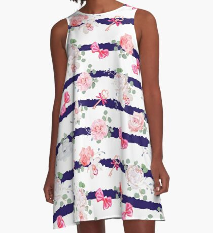Striped navy seamless vector print with red satin bows and flowers. A-Line Dress