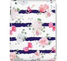 Striped navy seamless vector print with red satin bows and flowers. iPad Case/Skin