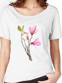 magnolia flower watercolor  Women's Relaxed Fit T-Shirt