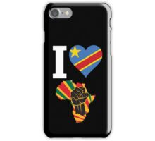 I Love Africa Map Black Power Republic of Congo  Flag T-Shirt iPhone Case/Skin