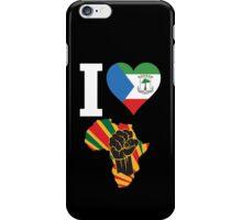 I Love Africa Map Black Power Equatorial Guinea Flag T-Shirt iPhone Case/Skin