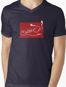 Music Earbuds Mens V-Neck T-Shirt