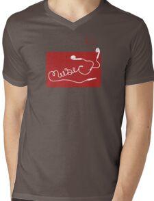 Music Earbuds Mens V-Neck T-Shirt