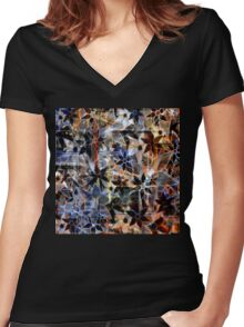 Abstract Art Retro Trendy Floral Pattern Women's Fitted V-Neck T-Shirt