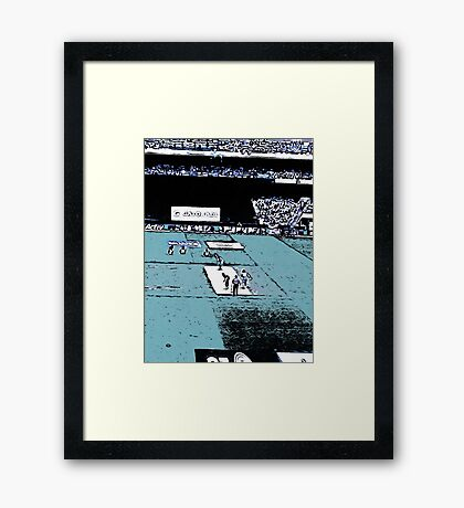 Cricket match in a stadium Framed Print