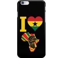 I Love Africa Map Black Power Ghana Flag T-Shirt iPhone Case/Skin