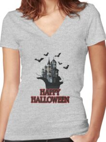 Happy haloween Tshirt Women's Fitted V-Neck T-Shirt