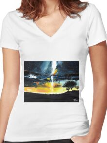 White Streak Women's Fitted V-Neck T-Shirt