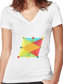 Crisscross Slanted Square Women's Fitted V-Neck T-Shirt