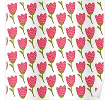 Simple doodle red tulip pattern. Cute flower seamless background. Summer wallpaper.  Poster