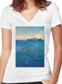 Sea Monster Women's Fitted V-Neck T-Shirt