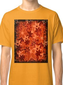 Orange Vintage Trendy Floral Pattern Classic T-Shirt