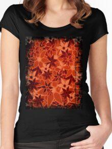 Orange Vintage Trendy Floral Pattern Women's Fitted Scoop T-Shirt