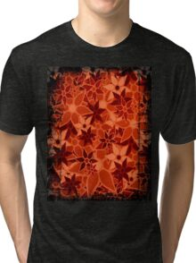 Orange Vintage Trendy Floral Pattern Tri-blend T-Shirt