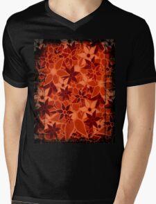 Orange Vintage Trendy Floral Pattern Mens V-Neck T-Shirt