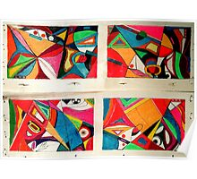 Fruit box Art - geometric abstract double diptych Poster