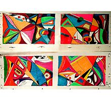 Fruit box Art - geometric abstract double diptych Photographic Print