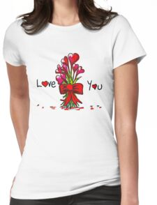 Love You Flowers Womens Fitted T-Shirt