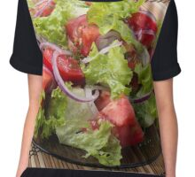 View angle on a fragment of vegetarian salad from fresh vegetables Chiffon Top