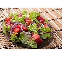 View angle on a fragment of vegetarian salad from fresh vegetables Photographic Print